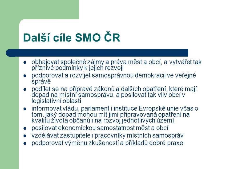 Další cíle SMO ČR obhajovat společné zájmy a práva měst a obcí, a vytvářet tak příznivé podmínky k jejich rozvoji podporovat a rozvíjet samosprávnou demokracii ve veřejné správě podílet se na přípravě zákonů a dalších opatření, které mají dopad na místní samosprávu, a posilovat tak vliv obcí v legislativní oblasti informovat vládu, parlament i instituce Evropské unie včas o tom, jaký dopad mohou mít jimi připravovaná opatření na kvalitu života občanů i na rozvoj jednotlivých území posilovat ekonomickou samostatnost měst a obcí vzdělávat zastupitele i pracovníky místních samospráv podporovat výměnu zkušeností a příkladů dobré praxe
