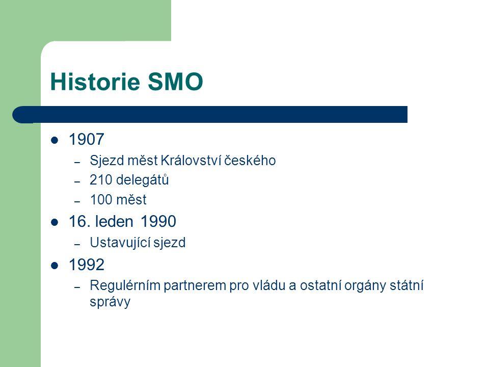 Historie SMO 1907 – Sjezd měst Království českého – 210 delegátů – 100 měst 16. leden 1990 – Ustavující sjezd 1992 – Regulérním partnerem pro vládu a
