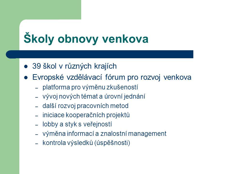 Školy obnovy venkova 39 škol v různých krajích Evropské vzdělávací fórum pro rozvoj venkova – platforma pro výměnu zkušeností – vývoj nových témat a úrovní jednání – další rozvoj pracovních metod – iniciace kooperačních projektů – lobby a styk s veřejností – výměna informací a znalostní management – kontrola výsledků (úspěšnosti)