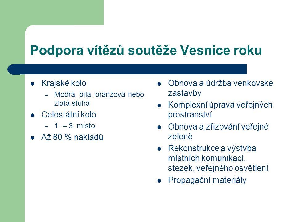 Podpora vítězů soutěže Vesnice roku Krajské kolo – Modrá, bílá, oranžová nebo zlatá stuha Celostátní kolo – 1.