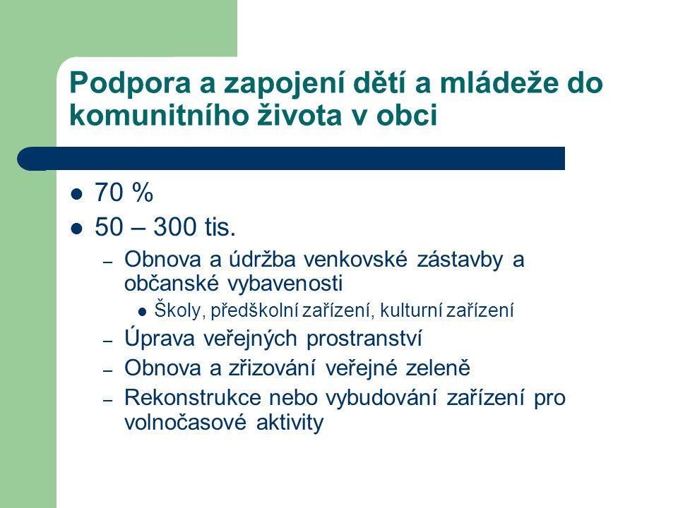 Podpora a zapojení dětí a mládeže do komunitního života v obci 70 % 50 – 300 tis.