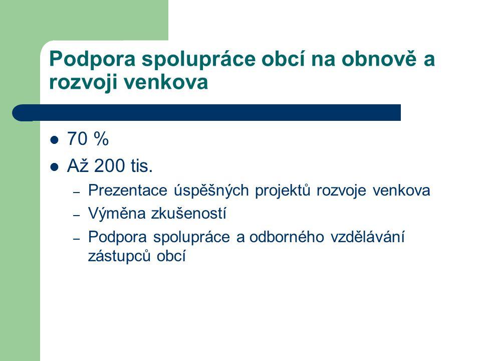 Podpora spolupráce obcí na obnově a rozvoji venkova 70 % Až 200 tis.