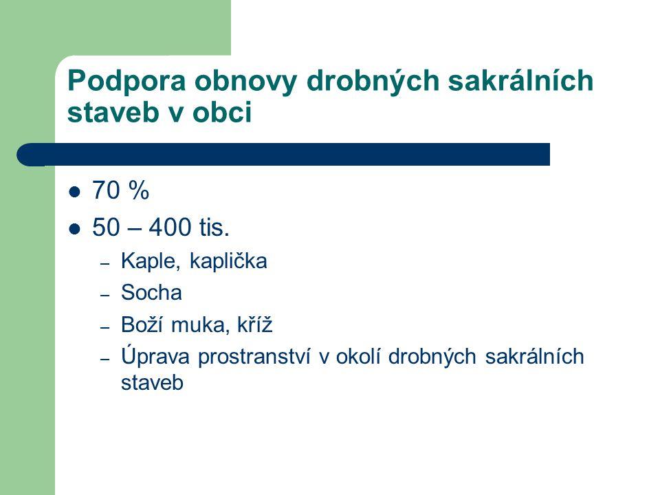 Podpora obnovy drobných sakrálních staveb v obci 70 % 50 – 400 tis.