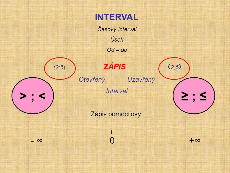 INTERVAL Časový interval Úsek Od – do (2;5) ZÁPIS ‹ 2;5 › Otevřený Uzavřený Interval Zápis pomocí osy.