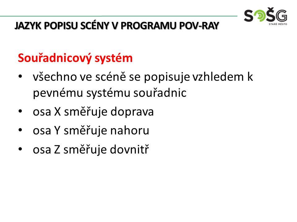 JAZYK POPISU SCÉNY V PROGRAMU POV-RAY Souřadnicový systém všechno ve scéně se popisuje vzhledem k pevnému systému souřadnic osa X směřuje doprava osa Y směřuje nahoru osa Z směřuje dovnitř