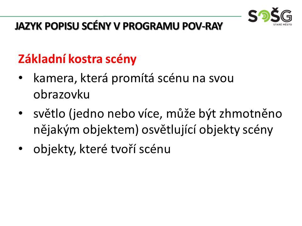 Scéna programu POV-Ray Upraveno: POV-Ray.In: Wikipedia: the free encyclopedia [online].