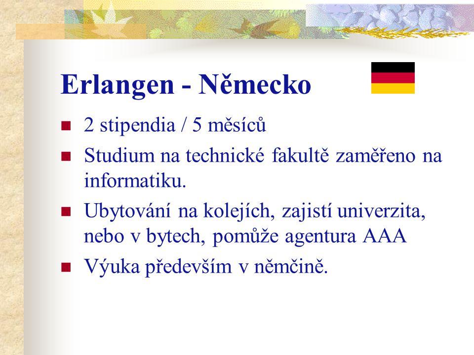 Erlangen - Německo 2 stipendia / 5 měsíců Studium na technické fakultě zaměřeno na informatiku. Ubytování na kolejích, zajistí univerzita, nebo v byte