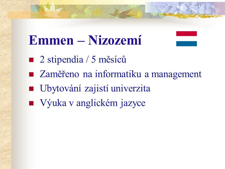 Emmen – Nizozemí 2 stipendia / 5 měsíců Zaměřeno na informatiku a management Ubytování zajistí univerzita Výuka v anglickém jazyce