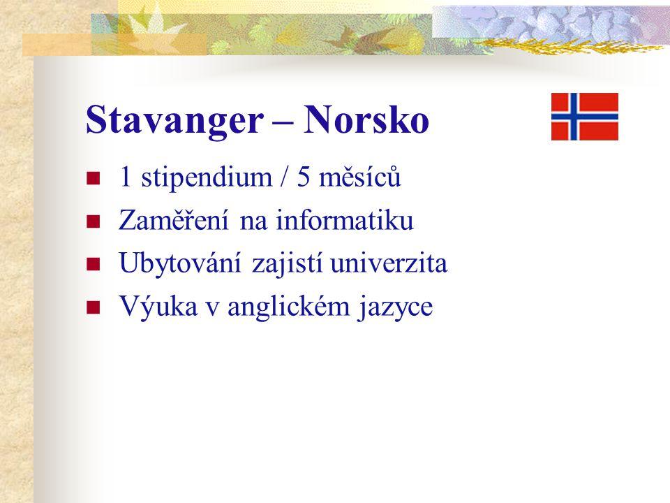 Stavanger – Norsko 1 stipendium / 5 měsíců Zaměření na informatiku Ubytování zajistí univerzita Výuka v anglickém jazyce