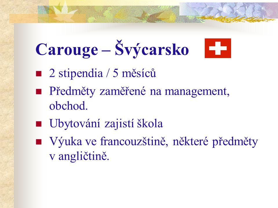 Carouge – Švýcarsko 2 stipendia / 5 měsíců Předměty zaměřené na management, obchod. Ubytování zajistí škola Výuka ve francouzštině, některé předměty v