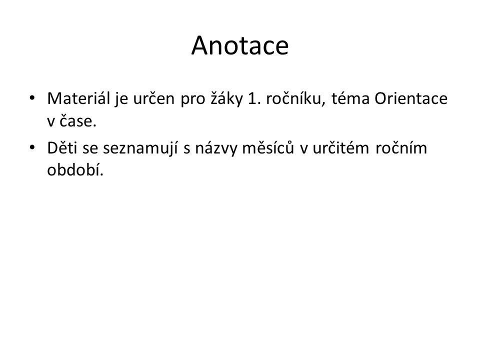 Anotace Materiál je určen pro žáky 1. ročníku, téma Orientace v čase.