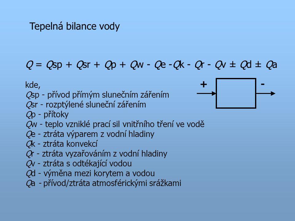 Tepelná bilance vody Q = Qsp + Qsr + Qp + Qw - Qe -Qk - Qr - Qv ± Qd ± Qa kde, Qsp - přívod přímým slunečním zářením Qsr - rozptýlené sluneční zářením Qp - přítoky Qw - teplo vzniklé prací sil vnitřního tření ve vodě Qe - ztráta výparem z vodní hladiny Qk - ztráta konvekcí Qr - ztráta vyzařováním z vodní hladiny Qv - ztráta s odtékající vodou Qd - výměna mezi korytem a vodou Qa - přívod/ztráta atmosférickými srážkami +-
