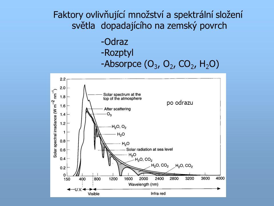 Faktory ovlivňující množství a spektrální složení světla dopadajícího na zemský povrch po odrazu -Odraz -Rozptyl -Absorpce (O 3, O 2, CO 2, H 2 O)