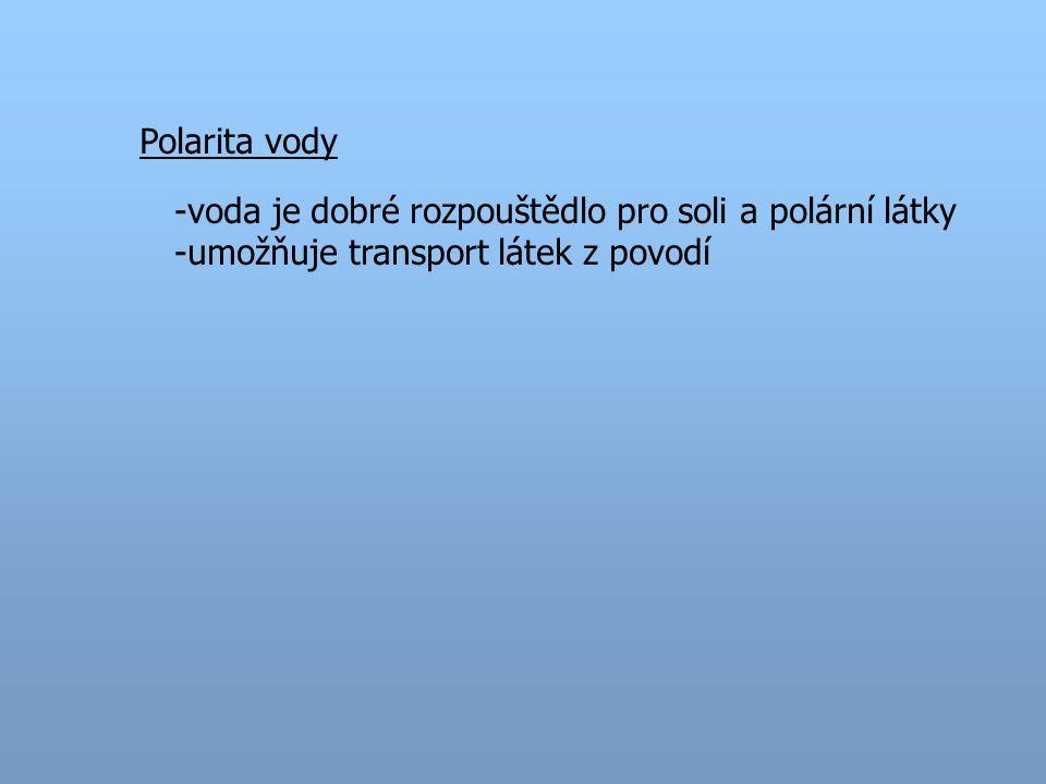 Polarita vody -voda je dobré rozpouštědlo pro soli a polární látky -umožňuje transport látek z povodí