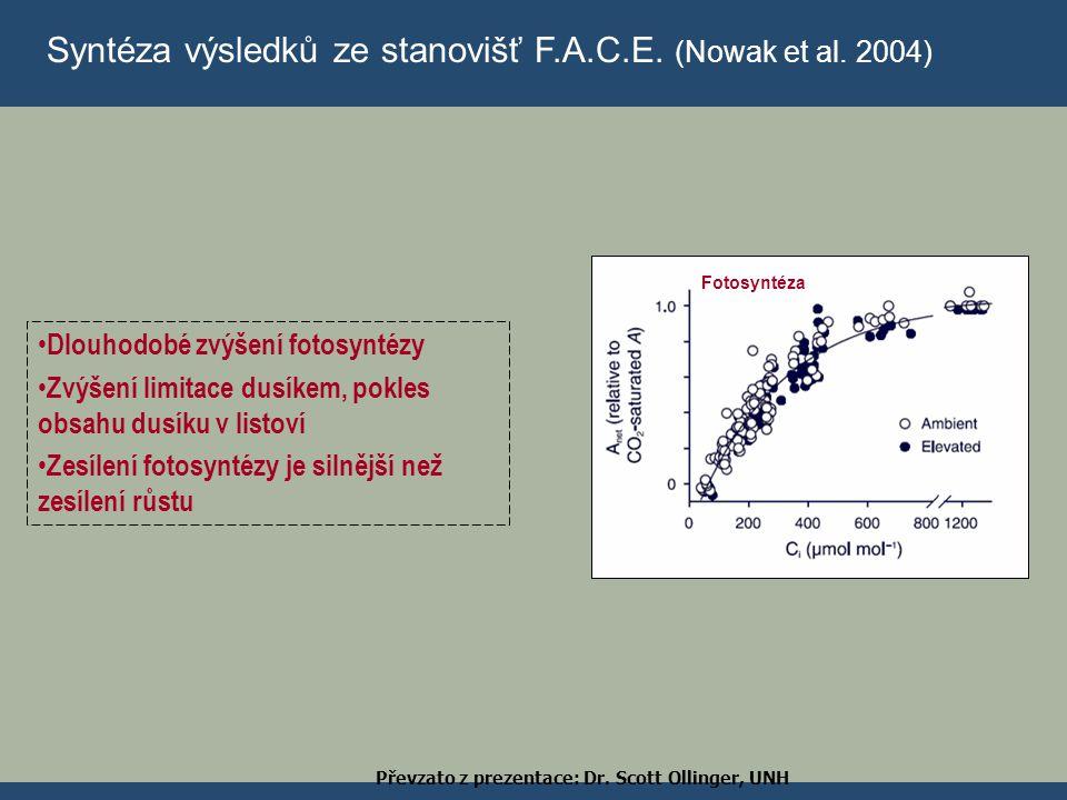 Syntéza výsledků ze stanovišť F.A.C.E. (Nowak et al. 2004) Fotosyntéza Dlouhodobé zvýšení fotosyntézy Zvýšení limitace dusíkem, pokles obsahu dusíku v