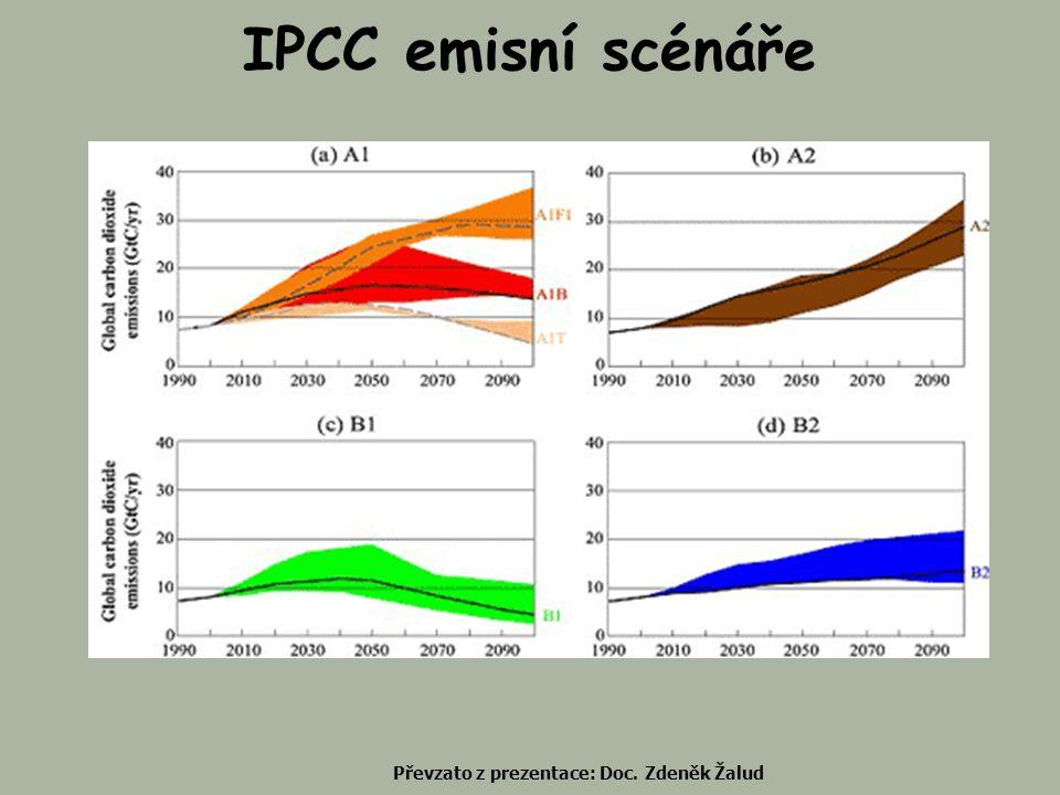 IPCC emisní scénáře Převzato z prezentace: Doc. Zdeněk Žalud