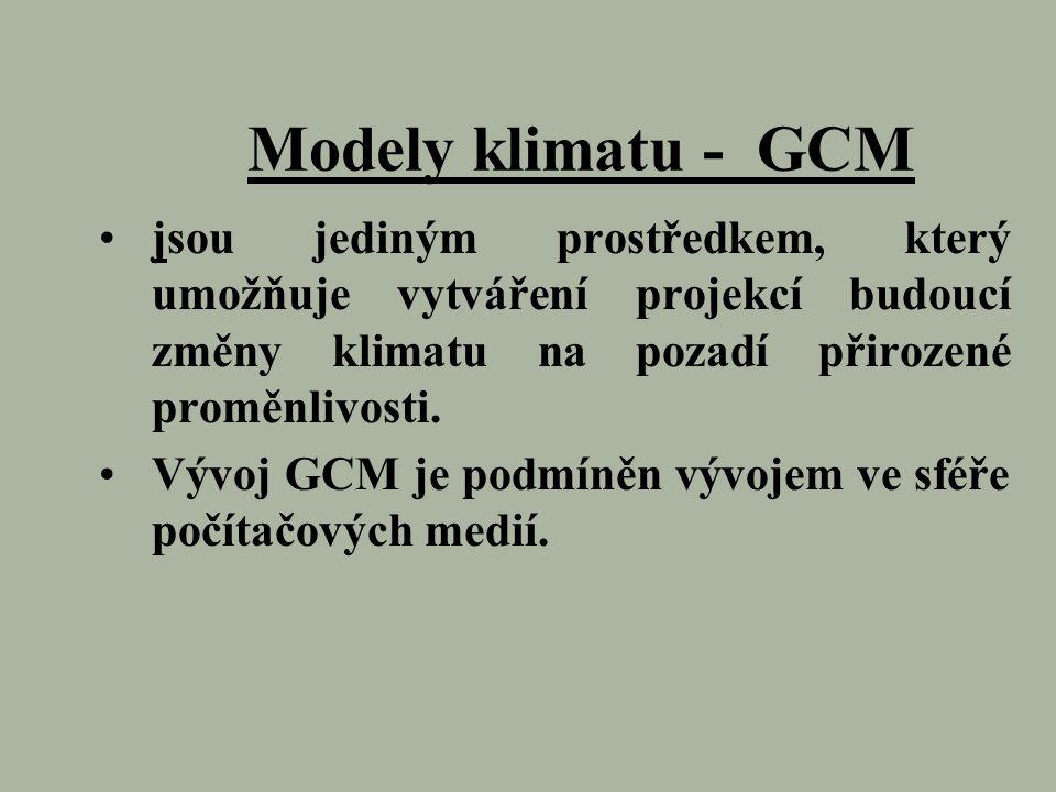 Modely klimatu - GCM jsou jediným prostředkem, který umožňuje vytváření projekcí budoucí změny klimatu na pozadí přirozené proměnlivosti. Vývoj GCM je