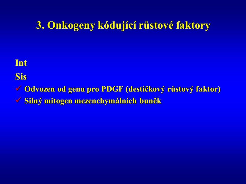 3. Onkogeny kódující růstové faktory IntSis Odvozen od genu pro PDGF (destičkový růstový faktor) Odvozen od genu pro PDGF (destičkový růstový faktor)
