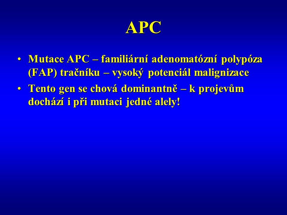APC Mutace APC – familiární adenomatózní polypóza (FAP) tračníku – vysoký potenciál malignizaceMutace APC – familiární adenomatózní polypóza (FAP) tračníku – vysoký potenciál malignizace Tento gen se chová dominantně – k projevům dochází i při mutaci jedné alely!Tento gen se chová dominantně – k projevům dochází i při mutaci jedné alely!
