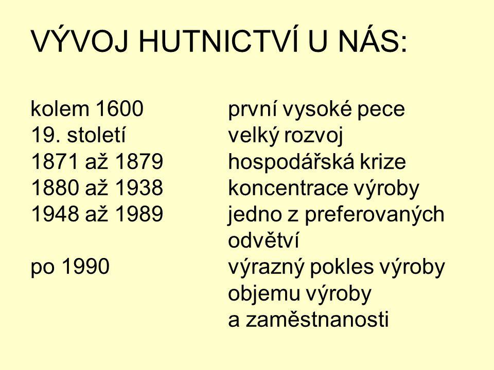 VÝVOJ HUTNICTVÍ U NÁS: kolem 1600 první vysoké pece 19. století velký rozvoj 1871 až 1879hospodářská krize 1880 až 1938koncentrace výroby 1948 až 1989