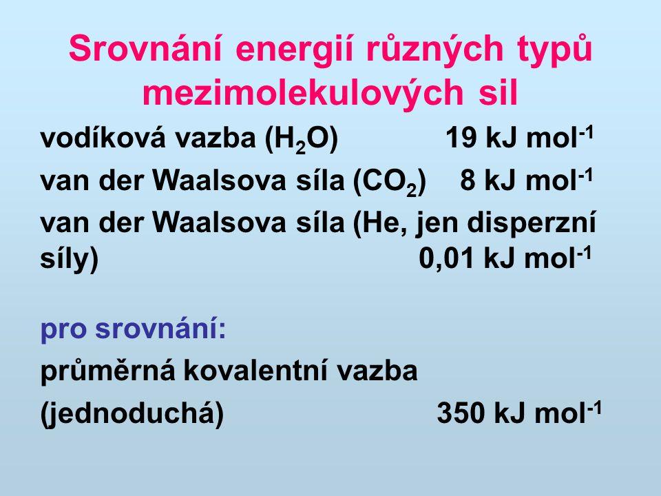 Srovnání energií různých typů mezimolekulových sil vodíková vazba (H 2 O) 19 kJ mol -1 van der Waalsova síla (CO 2 ) 8 kJ mol -1 van der Waalsova síla (He, jen disperzní síly) 0,01 kJ mol -1 pro srovnání: průměrná kovalentní vazba (jednoduchá)350 kJ mol -1