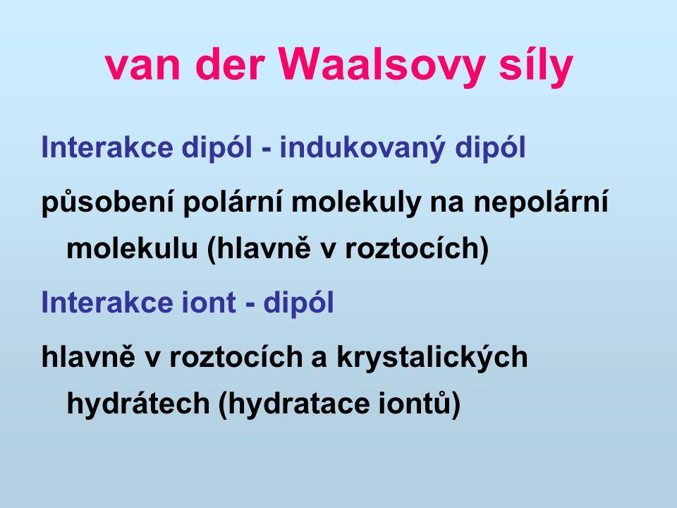van der Waalsovy síly Interakce dipól - indukovaný dipól působení polární molekuly na nepolární molekulu (hlavně v roztocích) Interakce iont - dipól hlavně v roztocích a krystalických hydrátech (hydratace iontů)