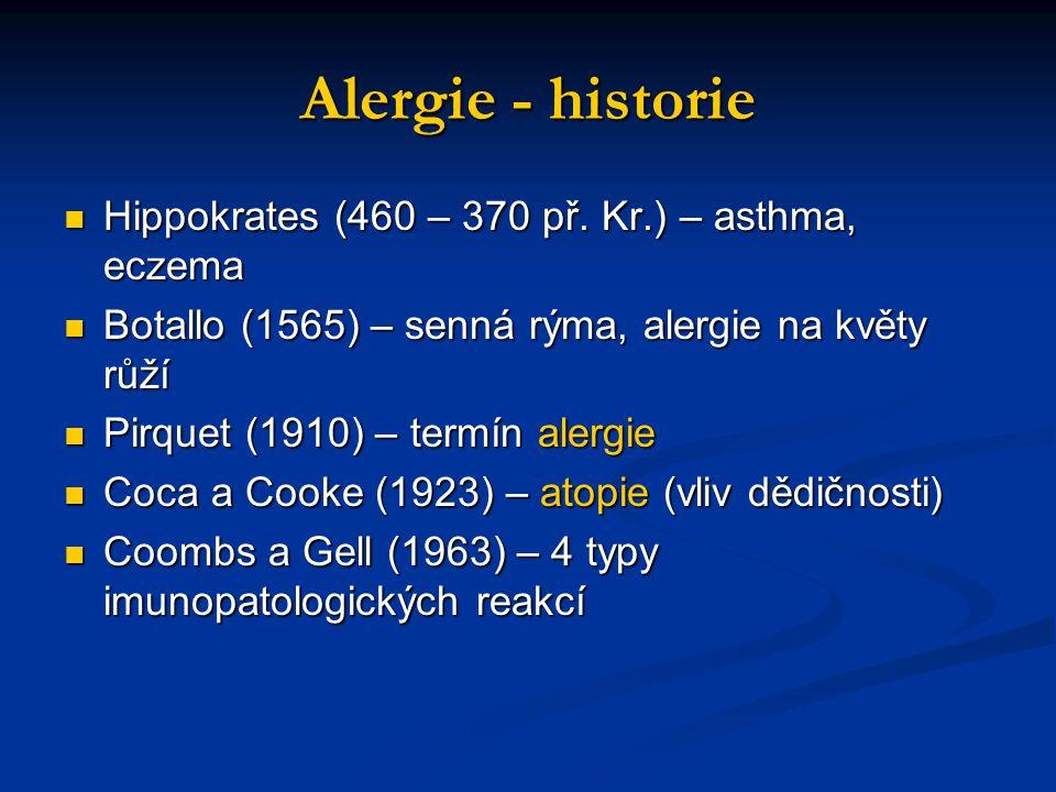 Alergie - historie Hippokrates (460 – 370 př. Kr.) – asthma, eczema Hippokrates (460 – 370 př. Kr.) – asthma, eczema Botallo (1565) – senná rýma, aler