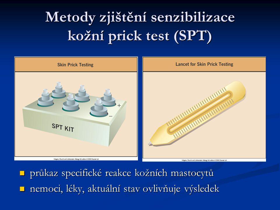 Metody zjištění senzibilizace kožní prick test (SPT) průkaz specifické reakce kožních mastocytů nemoci, léky, aktuální stav ovlivňuje výsledek