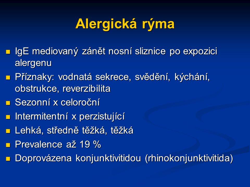 Alergická rýma IgE mediovaný zánět nosní sliznice po expozici alergenu IgE mediovaný zánět nosní sliznice po expozici alergenu Příznaky: vodnatá sekre