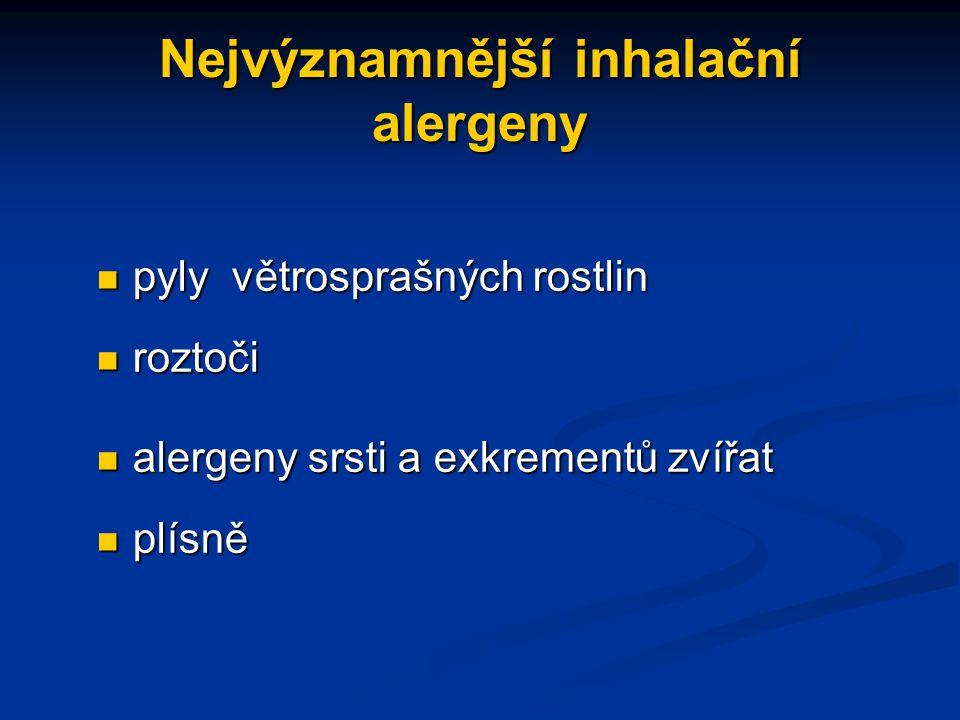 Nejvýznamnější inhalační alergeny pyly větrosprašných rostlin pyly větrosprašných rostlin roztoči roztoči alergeny srsti a exkrementů zvířat alergeny srsti a exkrementů zvířat plísně plísně