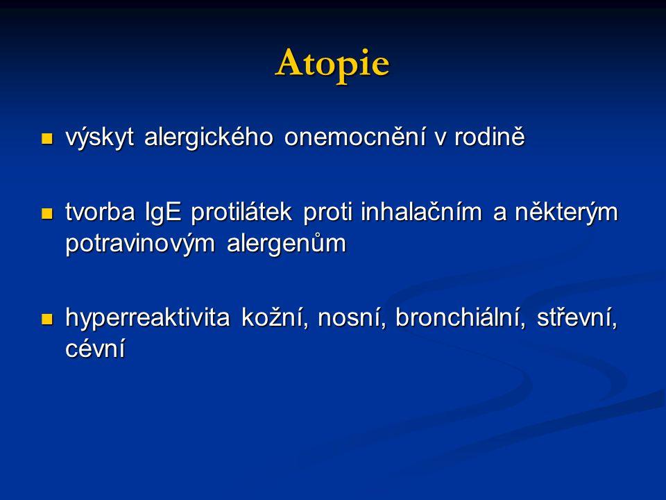Atopie výskyt alergického onemocnění v rodině výskyt alergického onemocnění v rodině tvorba IgE protilátek proti inhalačním a některým potravinovým alergenům tvorba IgE protilátek proti inhalačním a některým potravinovým alergenům hyperreaktivita kožní, nosní, bronchiální, střevní, cévní hyperreaktivita kožní, nosní, bronchiální, střevní, cévní