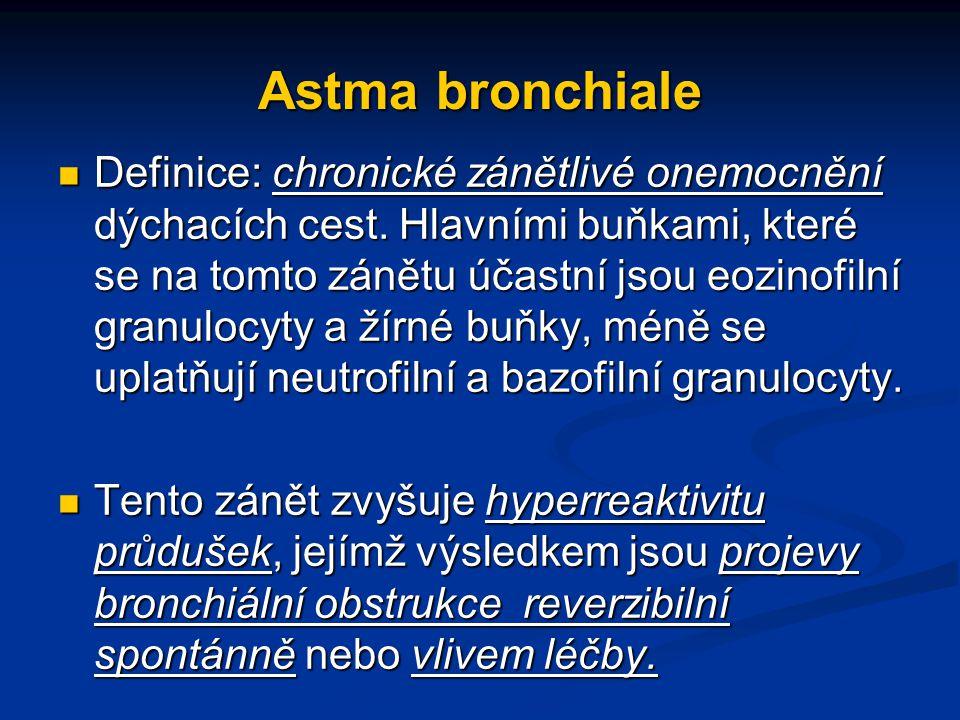 Astma bronchiale Definice: chronické zánětlivé onemocnění dýchacích cest. Hlavními buňkami, které se na tomto zánětu účastní jsou eozinofilní granuloc