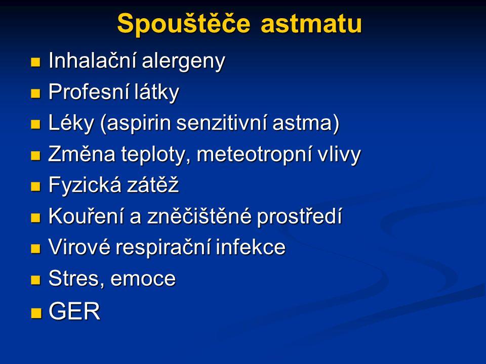 Spouštěče astmatu Inhalační alergeny Inhalační alergeny Profesní látky Profesní látky Léky (aspirin senzitivní astma) Léky (aspirin senzitivní astma) Změna teploty, meteotropní vlivy Změna teploty, meteotropní vlivy Fyzická zátěž Fyzická zátěž Kouření a zněčištěné prostředí Kouření a zněčištěné prostředí Virové respirační infekce Virové respirační infekce Stres, emoce Stres, emoce GER GER