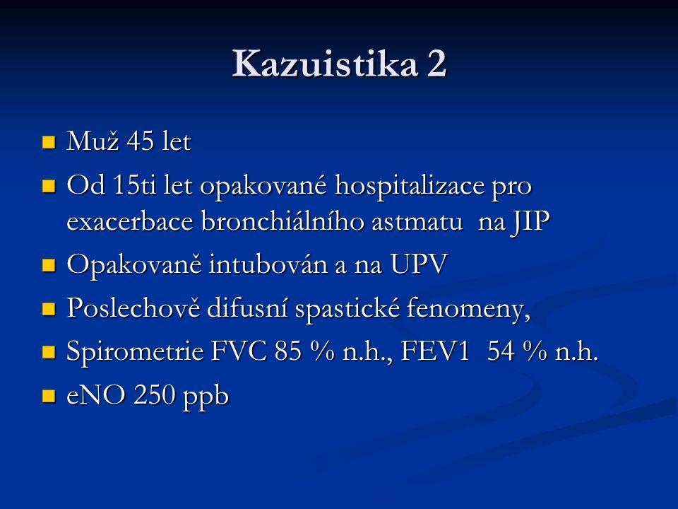 Kazuistika 2 Muž 45 let Muž 45 let Od 15ti let opakované hospitalizace pro exacerbace bronchiálního astmatu na JIP Od 15ti let opakované hospitalizace pro exacerbace bronchiálního astmatu na JIP Opakovaně intubován a na UPV Opakovaně intubován a na UPV Poslechově difusní spastické fenomeny, Poslechově difusní spastické fenomeny, Spirometrie FVC 85 % n.h., FEV1 54 % n.h.