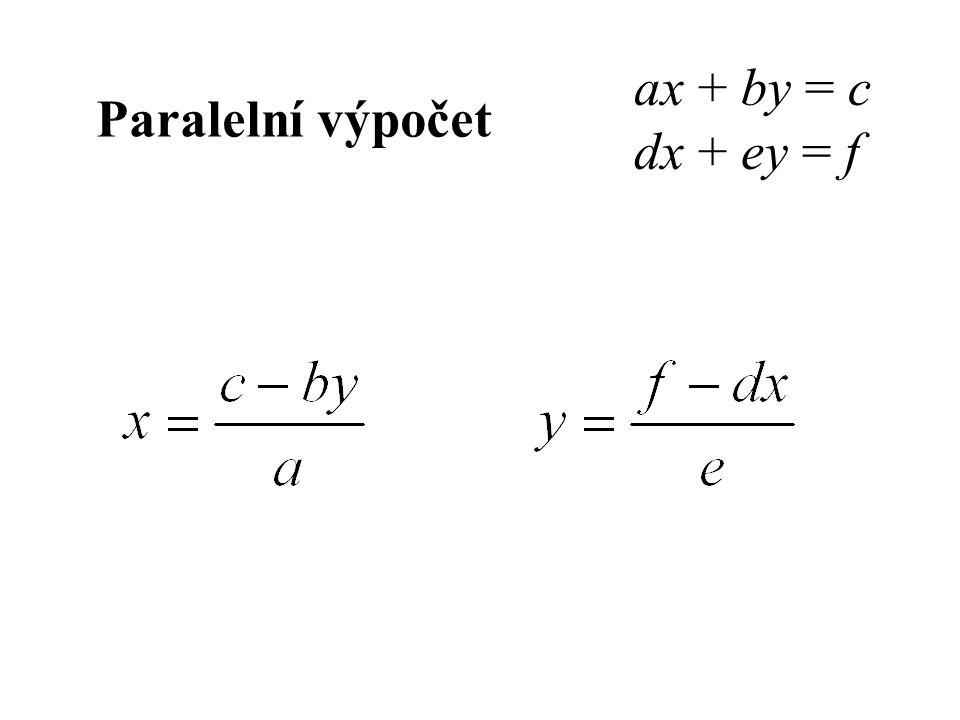Paralelní výpočet ax + by = c dx + ey = f