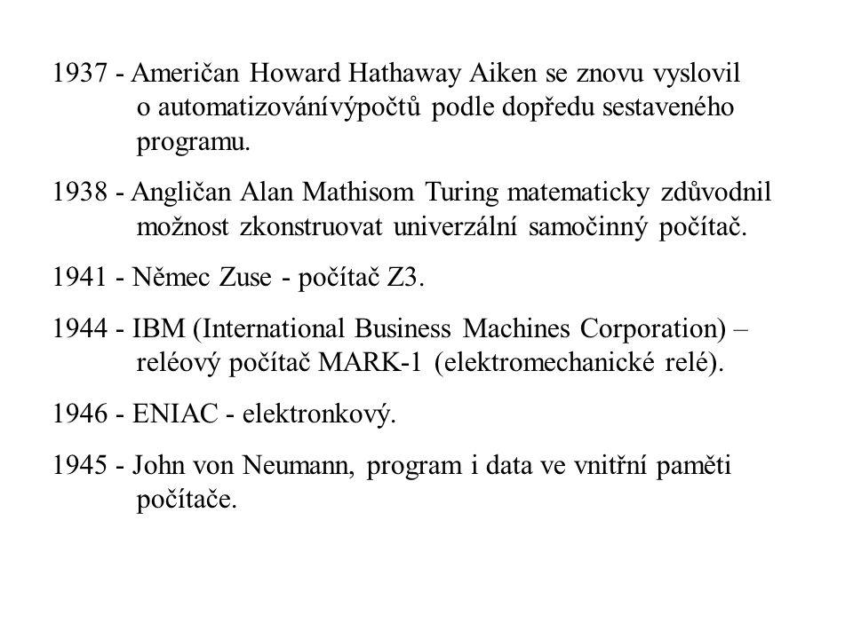 1937 - Američan Howard Hathaway Aiken se znovu vyslovil o automatizovánívýpočtů podle dopředu sestaveného programu. 1938 - Angličan Alan Mathisom Turi