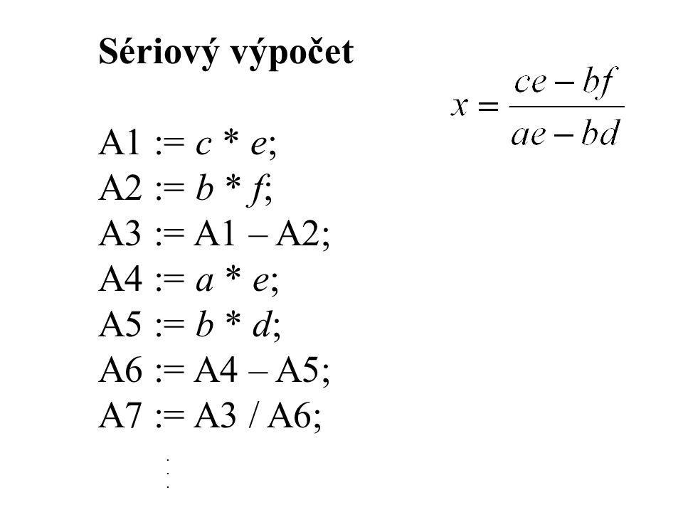 Sériový výpočet A1 := c * e; A2 := b * f; A3 := A1 – A2; A4 := a * e; A5 := b * d; A6 := A4 – A5; A7 := A3 / A6;.