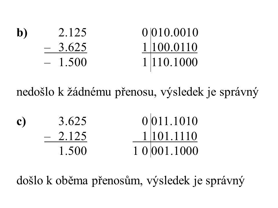 b)2.1250 010.0010 –3.6251 100.0110 –1.5001 110.1000 nedošlo k žádnému přenosu, výsledek je správný c)3.6250 011.1010 –2.125 1 101.1110 1.500 1 0 001.1