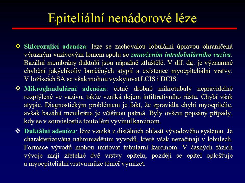 Epiteliální nenádorové léze  Sklerozující adenóza: léze se zachovalou lobulární úpravou ohraničená výrazným vazivovým lemem spolu se zmnožením intral