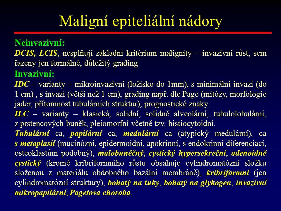 Maligní epiteliální nádory Neinvazivní: DCIS, LCIS, nesplňují základní kritérium malignity – invazivní růst, sem řazeny jen formálně, důležitý grading