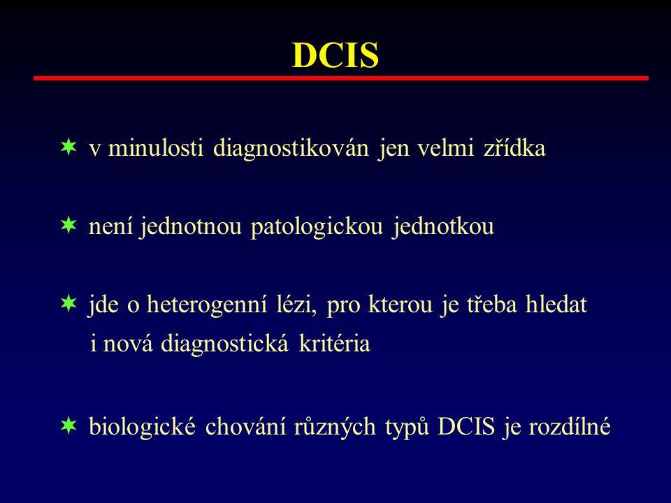DCIS  v minulosti diagnostikován jen velmi zřídka  není jednotnou patologickou jednotkou  jde o heterogenní lézi, pro kterou je třeba hledat i nová