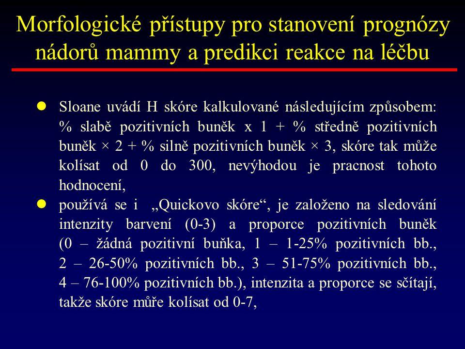 Sloane uvádí H skóre kalkulované následujícím způsobem: % slabě pozitivních buněk x 1 + % středně pozitivních buněk × 2 + % silně pozitivních buněk ×