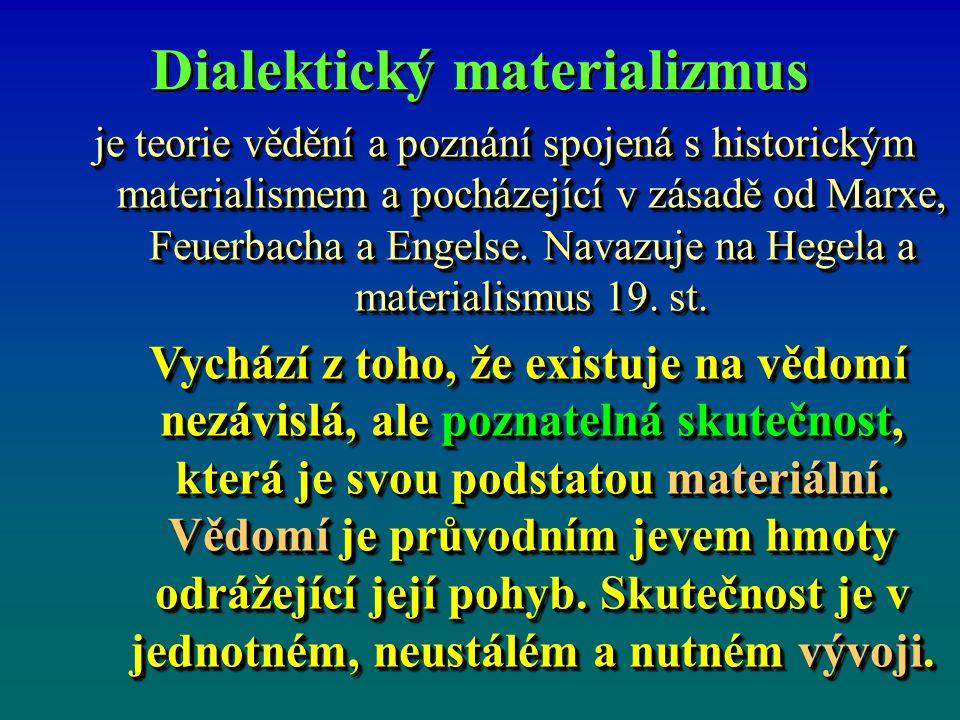 Dialektický materializmus je teorie vědění a poznání spojená s historickým materialismem a pocházející v zásadě od Marxe, Feuerbacha a Engelse.