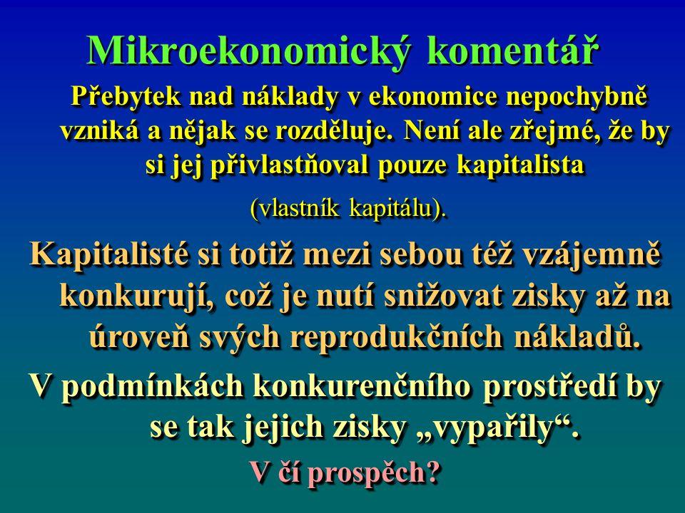 Mikroekonomický komentář Přebytek nad náklady v ekonomice nepochybně vzniká a nějak se rozděluje.