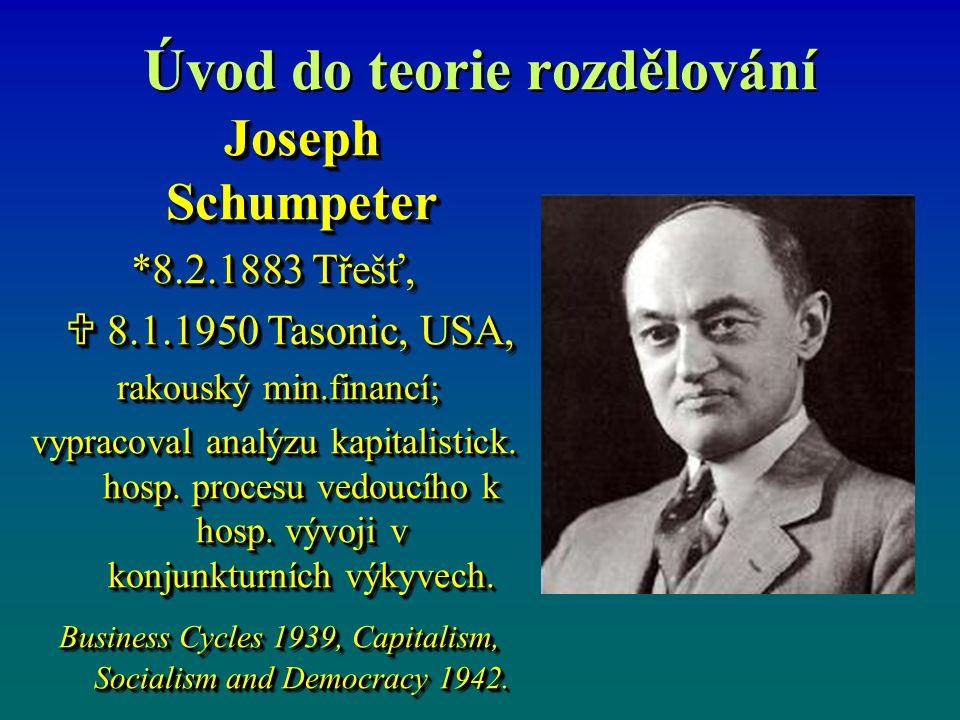 Úvod do teorie rozdělování Joseph Schumpeter *8.2.1883 Třešť,  8.1.1950 Tasonic, USA,  8.1.1950 Tasonic, USA, rakouský min.financí; rakouský min.financí; vypracoval analýzu kapitalistick.