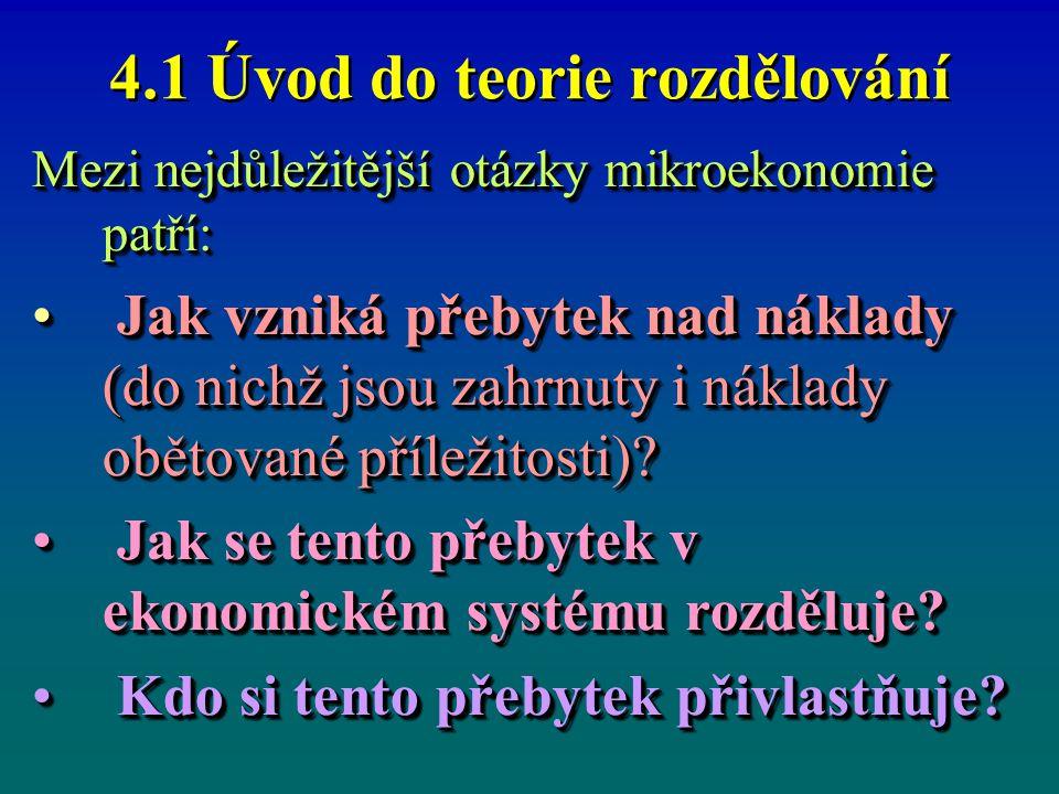 4.1 Úvod do teorie rozdělování Mezi nejdůležitější otázky mikroekonomie patří: Jak vzniká přebytek nad náklady (do nichž jsou zahrnuty i náklady obětované příležitosti).