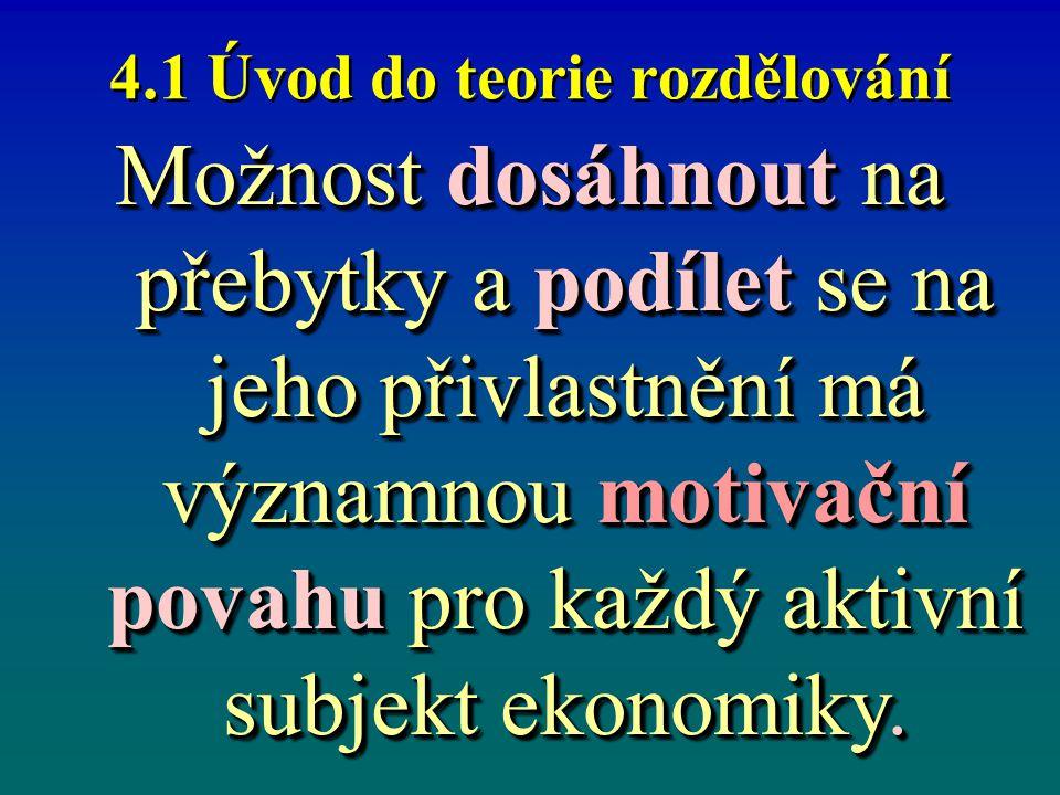 4.1 Úvod do teorie rozdělování Možnost dosáhnout na přebytky a podílet se na jeho přivlastnění má významnou motivační povahu pro každý aktivní subjekt ekonomiky.