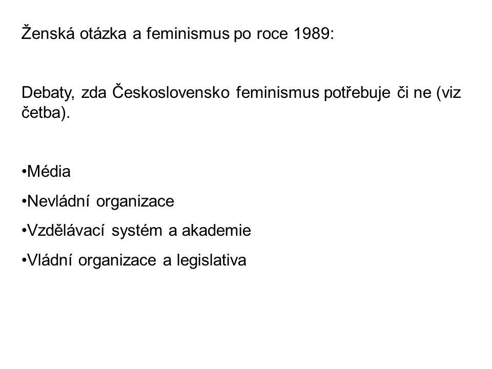 Ženská otázka a feminismus po roce 1989: Debaty, zda Československo feminismus potřebuje či ne (viz četba). Média Nevládní organizace Vzdělávací systé