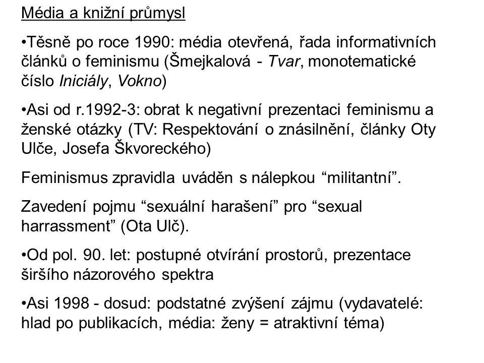 Média a knižní průmysl Těsně po roce 1990: média otevřená, řada informativních článků o feminismu (Šmejkalová - Tvar, monotematické číslo Iniciály, Vo