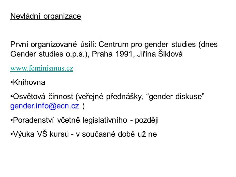 Nevládní organizace První organizované úsilí: Centrum pro gender studies (dnes Gender studies o.p.s.), Praha 1991, Jiřina Šiklová www.feminismus.cz Kn